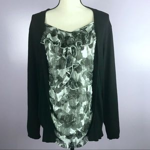 Cato size 26/28W Faux Black Grey Double Layer Top